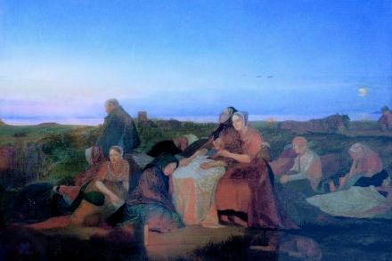 De syges søvn ved Sankt Helene kilde, malet af Jørgen Sonne.