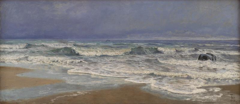 Graavejrsdag ved Vesterhavet med braending
