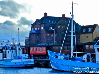 Vintage train, habour Helsingor,