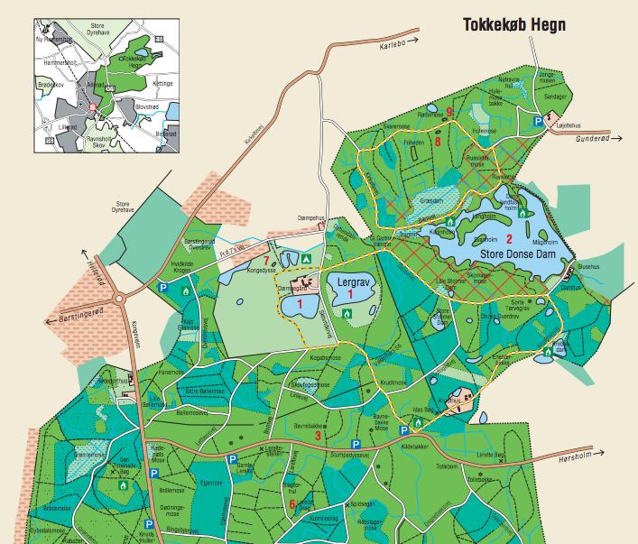 Kort over tur i Tokkekøb Hegn