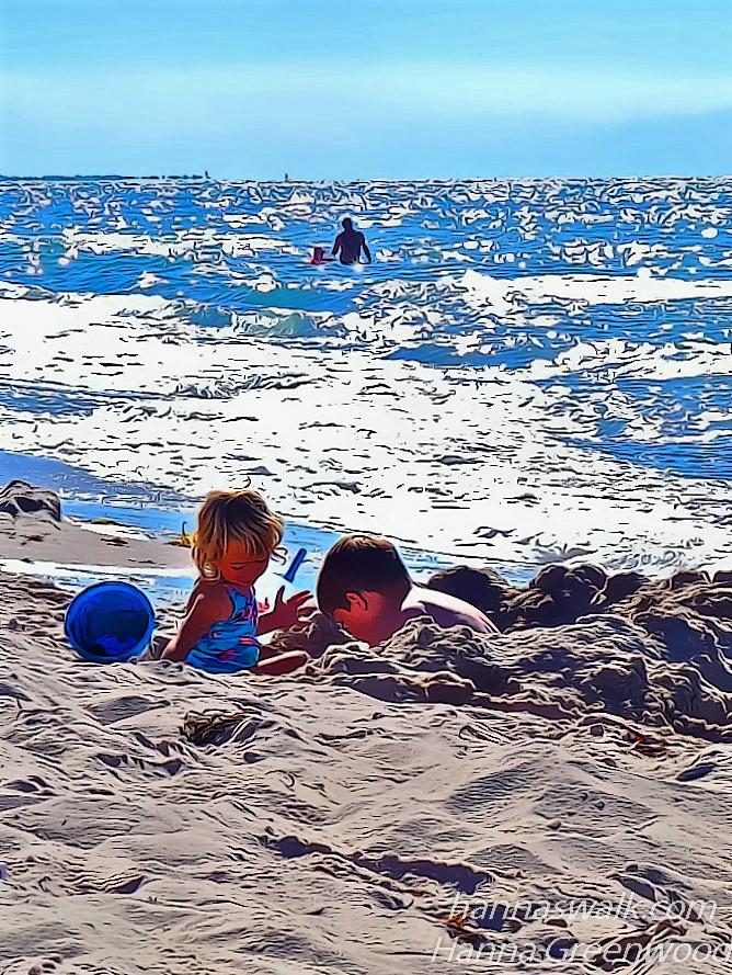 Børn på strand