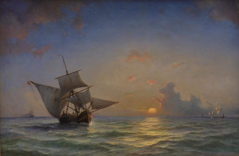Anton Melbye (Dansk, 1818 - 1875) Marine. Solen staar naer horisonten, 1854. Statens Museum for Kunst.